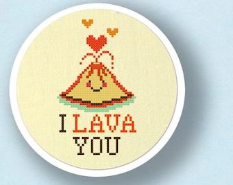 I Lava You Cross Stitch Pattern, Cute Erupting Heart Volcano Pun Modern Simple Cute Counted Cross Stitch PDF Pattern Instant Download