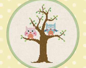Cute Owls on Tree. Owl Modern Simple Cute Owl Counted Cross Stitch Pattern PDF Instant Download