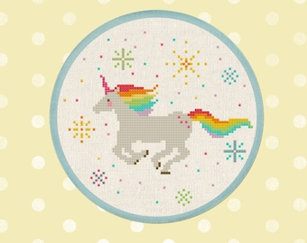 Sparkly Rainbow Unicorn Cross Stitch Pattern, Best Seller Modern Simple Colorful Unicorn Counted Cross Stitch Pattern PDF Instant Download