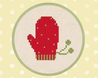 Red Mitten Cross Stitch Pattern, Winter Seasonal Decor, Modern Simple Cute Counted Cross Stitch PDF Pattern. Instant Download