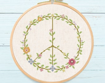 Peace Flower Cross Stitch Pattern. Flower Floral Peace, Modern Simple Cute Counted Cross Stitch PDF Pattern. Instant Download