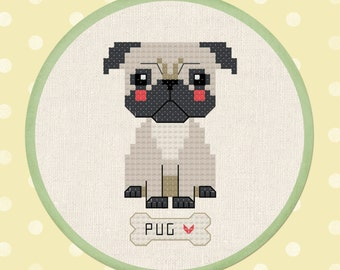 Cute Pug Cross Stitch Pattern, Pet Dog Cross Stitch, Modern Simple Cute Counted Cross Stitch Pattern PDF Instant Download