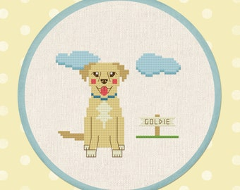 Golden Retriever, Dog Modern Simple Cute Counted Cross Stitch Pattern PDF File, Instant Download