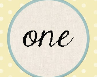 Lowercase Cursive one Cross Stitch Pattern. First Birthday Decor Modern Simple Cute Counted Cross Stitch PDF Pattern Instant Download