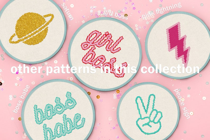 Modern Simple Cute Cool Sparkly Counted Cross Stitch PDF Pattern Instant Download Girl Boss Cross Stitch Pattern