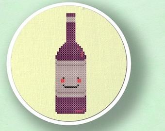 Happy Wine Bottle Cross Stitch Pattern. Modern Simple Cute Counted Cross Stitch Pattern. PDF File. Instant Download