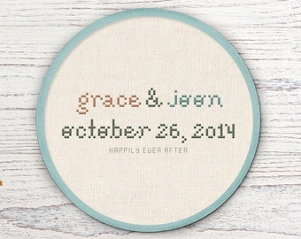Marriage Cross Stitch Pattern. Couple Personalize Custom Made to Order. Modern Simple Cute Counted Cross Stitch Pattern Wedding Gift, Decor