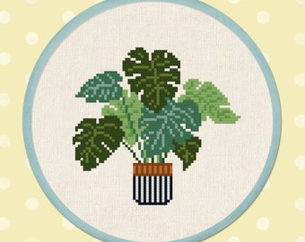 Swiss Cheese Plant Cross Stitch Pattern, Monstera deliciosa House Plant Modern Simple Cute Cross Stitch Pattern PDF File. Instant Download