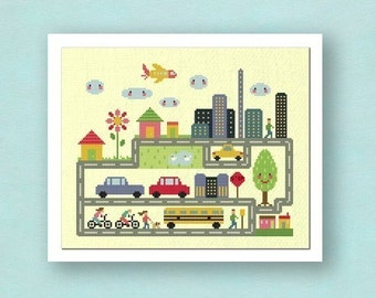 Dream City. Large Modern Simple Cute Counted Cross Stitch Pattern PDF File. Instant Download