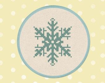 Falling Snowflake Cross Stitch Pattern, Winter Snowflake Modern Simple Cute Counted Cross Stitch PDF Pattern, Instant Download
