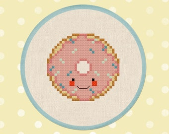Pink Frosted Donut with Sprinkles Cross Stitch Pattern, Doughnut Modern Simple Cute Counted Cross Stitch Pattern. PDF File. Instant Download