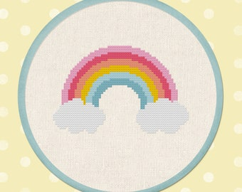 Cute Pastel Rainbow Cross Stitch Pattern. Modern Simple Colorful Cute Counted Cross Stitch PDF Pattern Instant Download