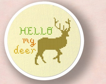 Hello My Deer Cross Stitch Pattern, Pun Cross Stitch Modern Simple Cute Cross Stitch Pattern PDF Instant Download
