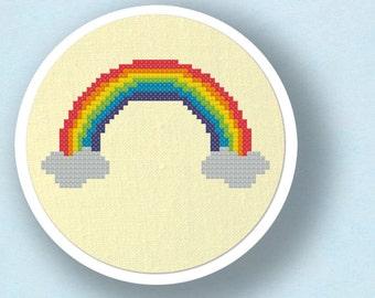 Rainbow Cross Stitch Pattern. Modern Simple Colorful Cute Counted Cross Stitch PDF Pattern Instant Download