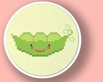 Peas in a Pod Cross Stitch Pattern. Vegetable Cross Stitch Pattern, Modern Simple Cute Counted Cross Stitch Pattern PDF, Instant Download