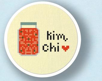 Kimchi Cross Stitch Pattern. 2 Patterns Included - Korean Food Modern Simple Cute Cross Stitch Pattern. PDF File