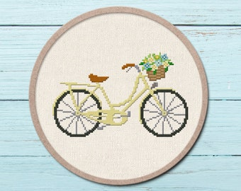 Pretty Yellow Bicycle Cross Stitch Pattern. Flower Basket Modern Simple Cute Quote Counted Cross Stitch PDF Pattern. Instant Download