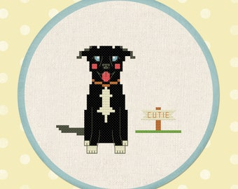 Black Labrador Retriever, Dog Modern Simple Cute Counted Cross Stitch Pattern PDF File, Instant Download