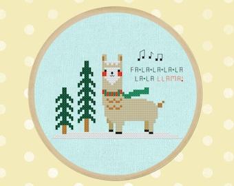 Falala Llama Cross Stitch Pattern, Best Seller Modern Simple Cute Christmas Winter Llama Counted Cross Stitch PDF Pattern. Instant Download