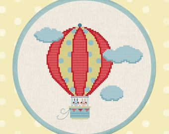 Up, Up and Away Cross Stitch Pattern. Hot Air Balloon Clouds Bunnies Modern Simple Cute Counted Cross Stitch Pattern PDF Instant Download