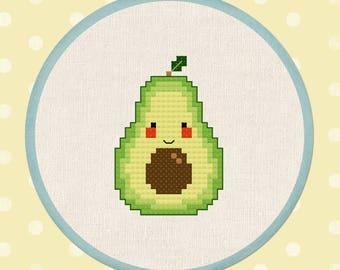 Happy Avocado Cross Stitch Pattern, PDF Modern Cute Simple Counted Cross Stitch Pattern, PDF, Instant Download