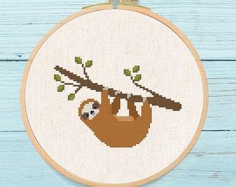 Cute Sloth Cross Stitch Pattern, Modern Simple Colorful Sloth Animal Counted Cross Stitch Pattern PDF Instant Download