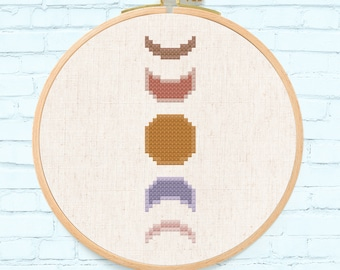 Neutral Moon Phase Cross Stitch Pattern. Modern Simple Colorful Cute Counted Cross Stitch PDF Pattern Instant Download