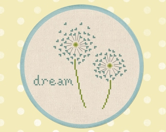 Dandelion Dream Cross Stitch Pattern, Modern Simple Cute Quote Cross Stitch Pattern. PDF Instant Download