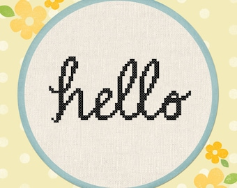 Cursive Hello Cross Stitch Pattern, Text Modern Simple Cute Counted Cross Stitch Pattern PDF Instant Download
