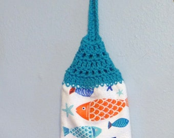 Looped Hanging Kitchen Towel Doubled Uncut Fish
