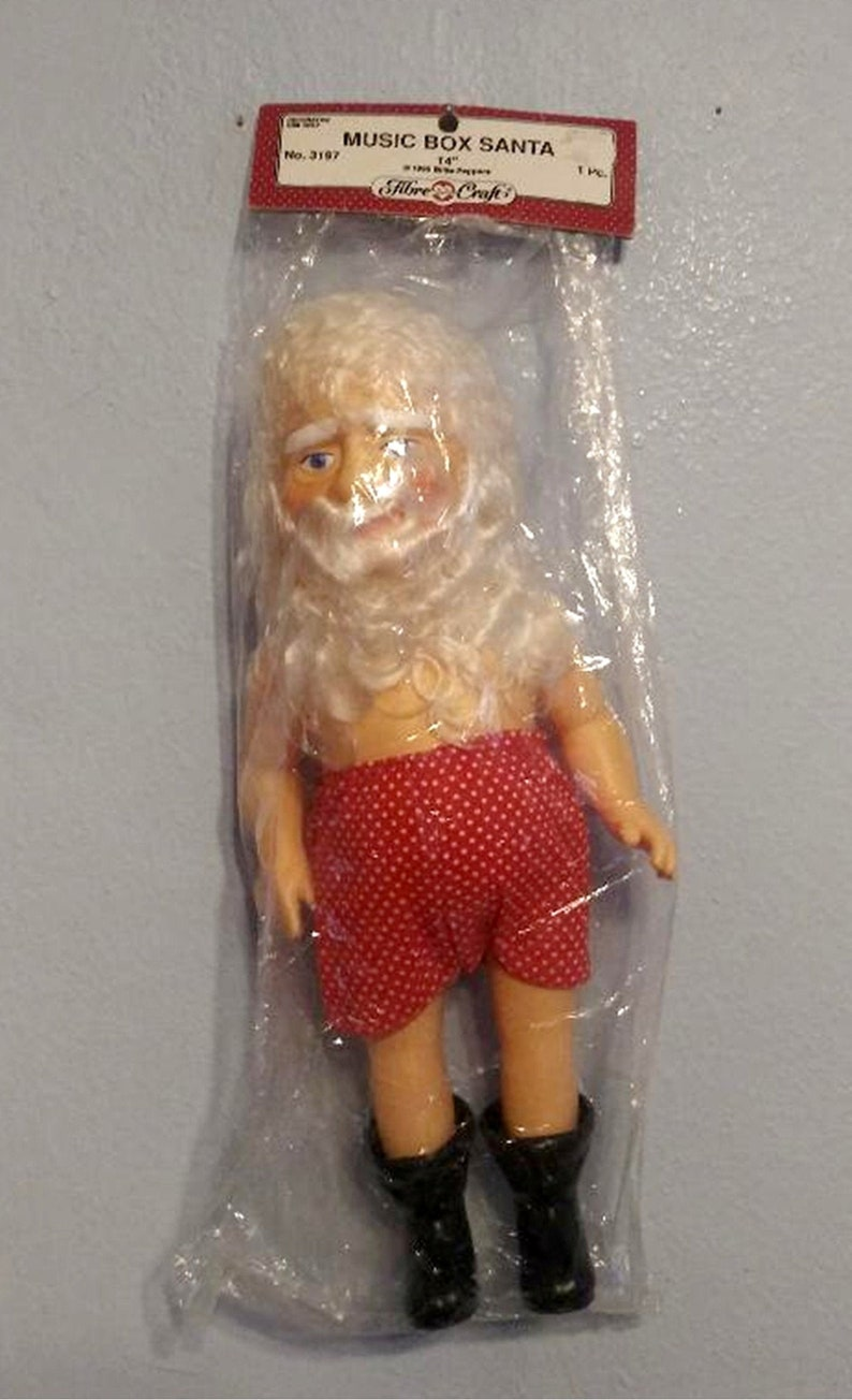 "Fibre Craft MUSIC BOX SANTA CLAUS SOFT BODY DOLL 14/""  NEW in PACKAGE"