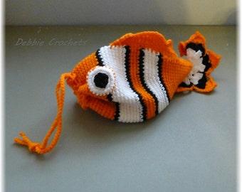 Clown Fish Bag Drawstring Tote Bag Sack - Orange White Black