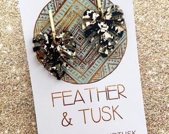 Handmade Acrylic Earrings  Monstera Leaf   Dangle and drop Earrings   glitter studs   Statement Earrings   Resin earrings   Black & Gold