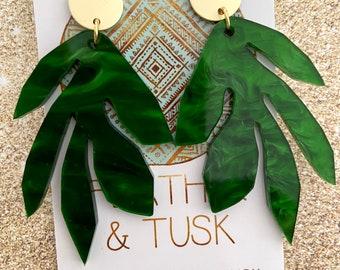 Handmade earrings   acrylic earrings   resin earrings   leaf earrings   statement earrings   bush leaf green   gift ideas