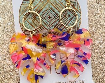 Handmade acrylic Earrings   Monstera dangle earrings   leaf earrings   multicolour rainbow   statement Earrings   large earrings  