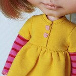 Little Miss Sunshine - Bright yellow button-up dress with cat buttons, socks and head band for Blythe dolls - by Icantdance