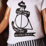Master of Death - Short skirt, sweater with vinyl iron-on and roll-up socks for Blythe - by Icantdance