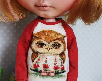 Petal The Owl - Long sleeved raglan sweater with an owl for Blythe - by Icantdance