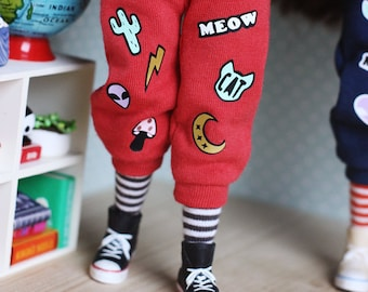 True Red - Over-sized overalls with patches, tee and striped socks - by Icantdance