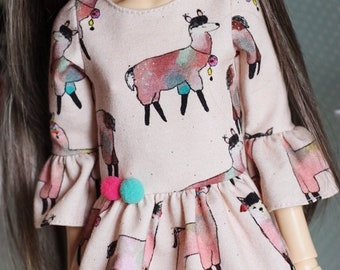 No Drama Llama - Bell sleeve dress in light pink with colourful Llamas and pompoms for Slim MSD - by Icantdance