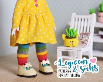 Easy patterns for LEGGINGS, STOCKINGS and two kinds of SOCKS for hand sewing for Lati Yellow dolls - Doll clothes pattern by icantdance