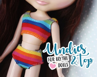 Fun and easy UNDIES and TOP pattern for hand sewing for Blythe and Licca dolls - Doll clothes pattern by icantdance