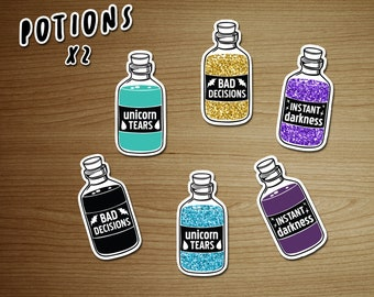 Decals / Stickers pack MAGICAL POTIONS - removable and repositionable! - by icantdance