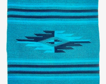 Vintage Wool Handwoven Textile Centerpiece Southwestern Turquoise