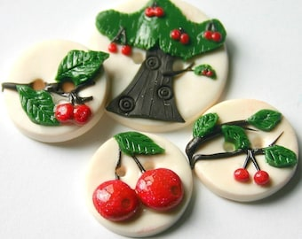Under The Cherry Tree (handmade buttons set of 4)