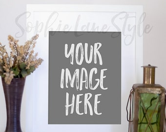 Download Free Picture Frame Artwork Print Mockup Styled Photography Blank Template Stock Photo Lantern Flowers Vase 8x10 #206 PSD Template