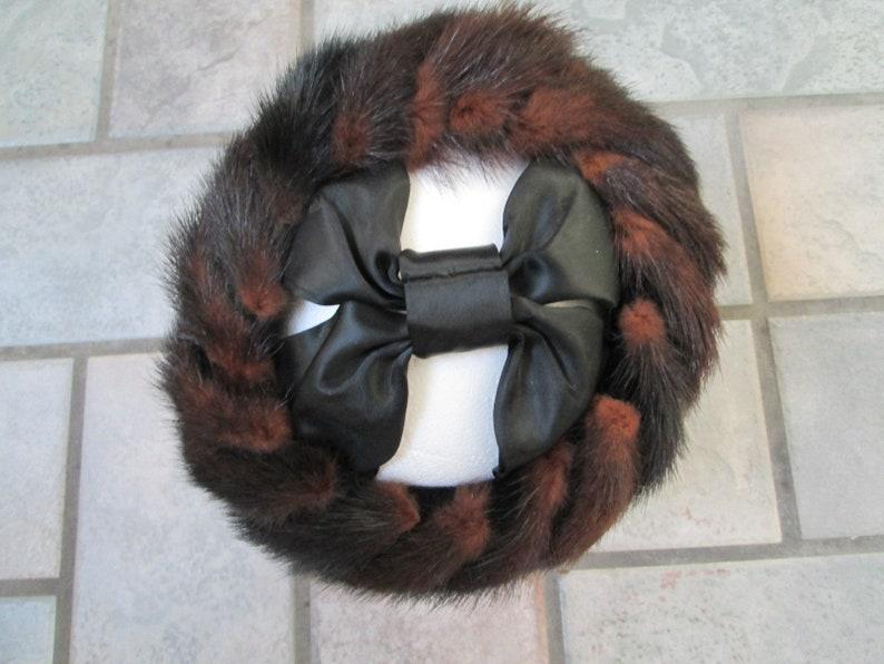 Vintage Fur Tails Hat Band Mink Muskrat Satin Bow