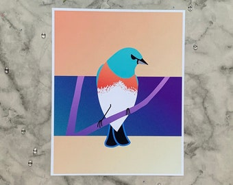 Lazuli Bunting   8x10 Original Art Print