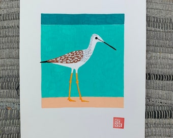 100 Days of Birds Original Artwork: #64 Greater Yellowlegs