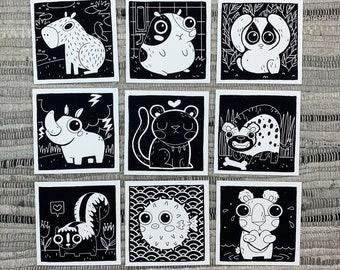 "Prints (2) 4""×4"" - 100 Days of Little Friends - Capybara, Guinea Pig, Panther, Hyena, Rhino, Bear, Skunk, Loris, Puffer Fish"